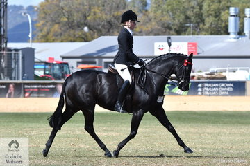 Margot Haynes rode Denim Moloney's, 'Wesswoods Supa Caste' to win the class for Lady's Galloway.