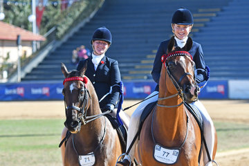 L-R Amelia Sadler and Ava Halloran looked to be having a good time winning the class for Pair of Riders 14 AU 18 Years.