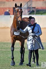 Fiona McIntyre is pictured with her lovely and successful racehorse and hack, 'Precedence' by Zabeel during the judging of the Racing SA Fashions Off The Track.