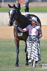Amy Shadbolt, pictured with her, 'Paiges Boy' took sixth place in the Racing SA Fashions Off The Track. Paiges Boy won over $200,000 racing and Amy was his groom.