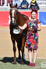 """Kerry Micke is pictured with her """"Fiery Haze' on their way to fifth place in the Racing SA Fashions Off The Field. The entrants were permitted a strapper and both the horse and the fashionable entrant were judged."""