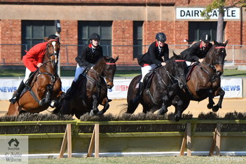 The Strathalbyn Hunt Club team of , Mark Bruggemann, Amelia Wallace, Debbie Thompson and Rosalie Pedlar took second place in the Section 4 around the ring hunting competition this morning.