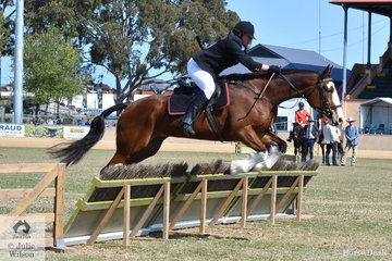 Kareen Hotson is pictured aboard her, 'I Love Lucy' during the Lady's Individual Hunter's Plate.