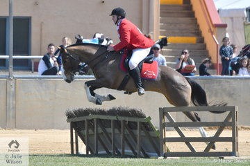 Josh Slape and 'Diamond J Folly' representing the Penola Hunt Club took fourth place in the Gent's Hunter's Plate today.