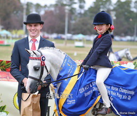 """Reserve Champion Lead Rein Pony """"Kooyong Claudius"""" ridden by Holly Bunt, led by Harry Rainnie and exhibited by Kelly & Stringer."""