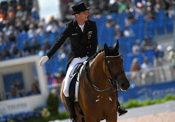 FEI World Equestrian Games... Tryon USA: Dressage: Sonke Rothenberger of Germany and Cosmo.Photo FEI/Martin Dokoupil