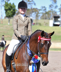 """""""La Bella"""" and Sarah Olsen won Champion Ridden Newcomer Thoroughbred, Champion Ridden unraced Thoroughbred and winner of the Child's Open Hack 15-16hh class."""