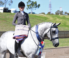 "Bree Orford and her Champion Newcomer Show Hunter Hack over 16hh ""Madrid""."