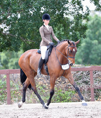 """Courtney Larard riding """"Legacy Of Loxley"""" to a 3rd place in the Newcomer Large Show Hunter Hack class. Courtney also placed 3rd in the Adult Rider 25 years and over event."""