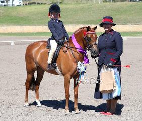 "Champion Lead Rein Pony ""Taylar Made Fairy Floss"" ridden by Taliah Sidorenko."