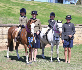 """Champion Show Hunter Lead Rein Pony """"Eagle Park Achilles"""" ridden by Sophie Carter, led by Stephanie Chenery & Reserve Champion """"Kingfisher Park Zac"""" ridden by Mackenzie Slater and led by Carlie Elfar."""