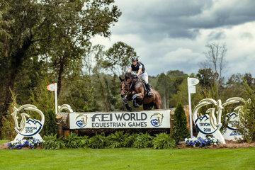 FEI World Equestrian Games... Tryon USA Ingrid Klimke GER  riding Sap Hale Bob OLD-GER.Photo FEI/Christophe Tani..re
