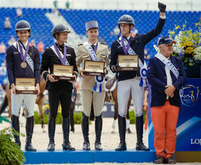 FEI World Equestrian Games... Tryon USA Bronze medalists were France eft to right : Sidney Dufresne, Donatien Schauly ADJ, Thibault Vallette Lt Col, Maxime Livio, Thierry Touzaint..Photo FEI/ Christophe Tani..re