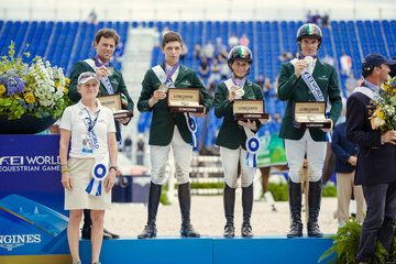 FEI World Equestrian Games... Tryon World Silver team medalists in Eventing  Ireland,Left to right : Sally Corscadden, Sam Watson, Cathal Daniels, Sarah Ennis, Padraig McCarthy Eventing.Photo FEI/Christophe Tani..re