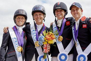 FEI World Equestrian Games... Tryon USA Team GBR  Ros Canter Gemma Tattersall Piggy French Tom McEwen; Team  Eventing Gold Medalists.Photo FEI/Liz Gregg