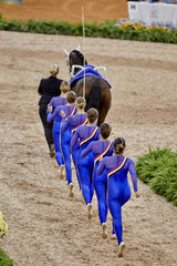 FEI World Equestrian Games... Tryon USA Vaulting squad compulsory test Netherlands.Photo FEI/Liz Gregg