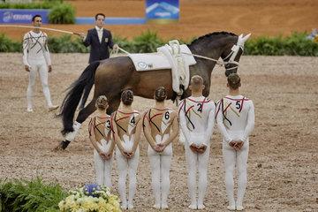 FEI World Equestrian Games... Tryon USA Vaulting squad compulsory test Team Germany.Photo FEI/Liz Gregg