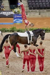 FEI World Equestrian Games... Tryon USA Vaulting squad compulsory test Team Switzerland.Photo FEI/Liz Gregg