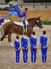 FEI World Equestrian Games... Tryon USA Vaulting squad compulsory test Russia..Photo FEI/Liz Gregg