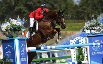 FEI World Equestrian Games... Tryon USA Eric Lamaze of Canada on Chacco Kid.Photo FEI/Martin Dokoupil