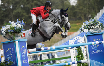 On day 1 at the FEI World Equestrian Games... Tryon USA McLain Ward of the United States on Clinta.Photo FEI/Martin Dokoupil