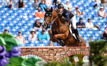 FEI World Equestrian Games... Tryon USA Rowan Willis of Australia on Blue Movie.Photo FEI/Martin Dokoupil