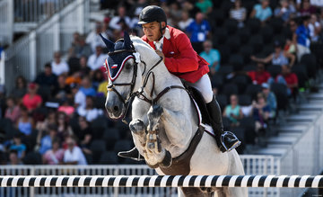 FEI World Equestrian Games... Tryon USA Samuel Parot of Chile on Thriller P.Photo