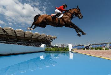 FEI World Equestrian Games... Tryon USA Janika Sprunger of Switzerland on Bacardi VDL.Photo FEI/Martin Dokoupil