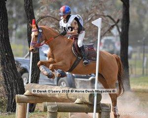 Lamoza Velisha representing Werribee Pony Club in the Grade 3 Section 1 riding Farleigh Tobermory