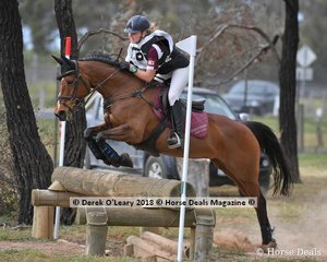 "Tahlia Pursell representing Pakenham ony Club in the Grade 3 Section 1 Cross Country riding ""Jarosite Just Fine"""