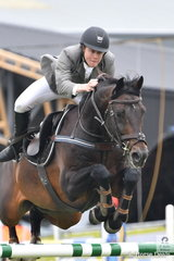Accounts manager for Win TV, Aaron Hadlow rode the stallion, Twins  Easton VDL to fifth place in the Group B One Round contest.