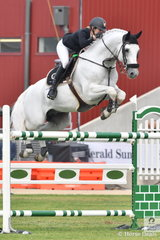 Katie Laurie and the scopey stallion, Cassebrooke Lomond just had four faults in the first round of the Prince of Wales Cup.