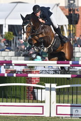 Tom McDermott was declared Champion Jumping Rider and he is pictured aboard his super Clinton mare, 'Elegance de la Chaemille'. They jumped eight and clear to take seventh place in the Melbourne Royal World Cup Qualifier.