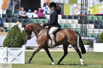 Michelle Paynter rode Naomi Landmeter's, 'Rokewood Tiger Moth' to win the class for Novice Pony 12-12.2hh and go on to claim the Best Novice Small Pony award. They continued on to take second place in the class for Open Pony 12-12.2hh.