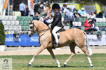 Gracie Hunphrys rode her delightful and typey, 'Karlana Spring Chatter' to take third place in the strong class for Child's Show Hunter Pony N/E 12.2hh.