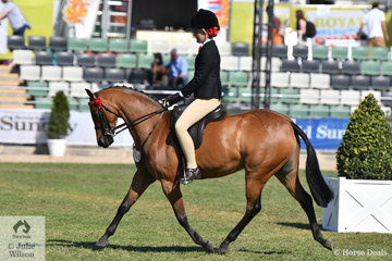 All the way from Port Lincoln in South Australia, jockey in demand, Bianca Evans rode Elizabeth Daly's, 'Royal Oak Figurine' to win the class for Pony Mare N/E 12.2hh.