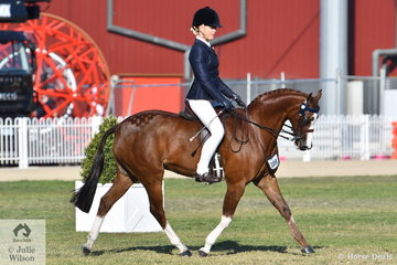 Sarah Allsopp rode Mia Heinrich's 'Regalbrook Razzle Dazzle' to take third place in the strong class for Novice Pony 13.2-14hh. They went one better in the Open class for second place.