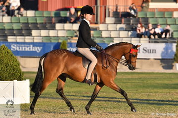 Kate Kyros rode Chris Lawrie and Christine Comley's, 'Rosedale Simplicity' (Turberry Tom kitten/Colbeach Simone UK) to win the class for Open Pony 12.2-13hh.