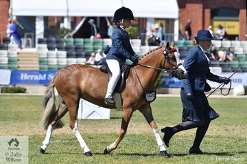 Stella Gilmour rode Courtney McLeod and Matt Snell's nomination, 'Woranora Nefertiti' to second place in the class for Leading Rein Pony 12hh and Under.
