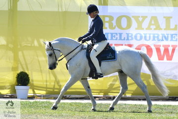Melanie Welsh is pictured aboard her own and husband, Brett's wonderful stallion, 'Ervine's Rollex' (Warrenbri Omega/Ervine's recoil). The former ASHS Futurity and Maturity winner was yesterday declared Champion led and today Champion Ridden and with Brett aboard Champion Working Australian Stock Horse.