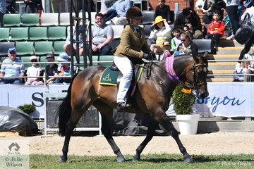 Ashlee Carrigan -Walsh rode her, 'Kardinia Jackman' (Glenpark Pastoral Echo/Kardinia Jaynmans Delight) to  claim the Ridden Australian Stock Horse Reserve Championship.