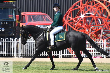 Niamh Lennon is pictured aboard her, 'Otfordvalley Solar' (Acres Destiny/Glen Lee Rivoli Silouette) during the judging of the Australian Stock Horse ASHLA class for Lady riders.
