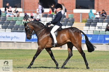 Tia Rose McKenzie won the class for  rider 10-12 Years and riding very well,  went on to be declared Champion Junior Rider.