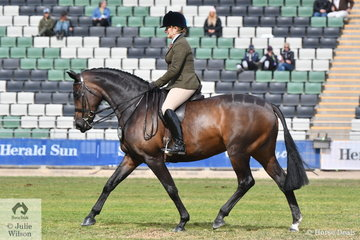 Rachel Addison rode her 'Prima Donna' to win the class for Novice Show Hunter 15.2-16hh and claim the 2018 Melbourne Royal Show Best Novice Show Hunter award.