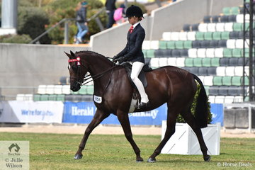 Ebonie Lee rode Tamara Lee and Graham Elliott's nomination, 'Kolbeach Holly's Knowing' to win the class for Child's Galloway 14.2-15hh and claim the Child's Galloway Championship