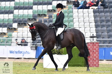Ali Berwick rode Jessica Fraser's former National Champion Galloway, 'Royalwood Concerto' to win the class for Open Galloway 14.2-15hh and go on to claim the 2018 Royal Melbourne Show Galloway Championship..