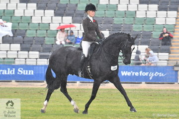 Jess Stones had to brave the changeable Melbourne weather, but nonetheless won the class for Show Hunter Gelding 15-16hh riding Wendy Stafford's, 'Coldstream Ultimate' by Uswin (Ger).
