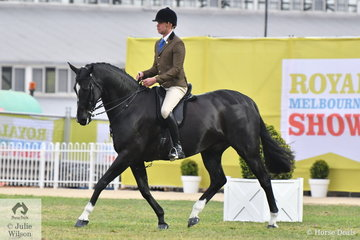 Greg Mickan rode the Romsey Park, Terry van Heythuysen and Julie Conti nomination, 'Dreamtime Lomaxx' by Xzibit to win the class for Open Show Hunter 16-16.2hh.