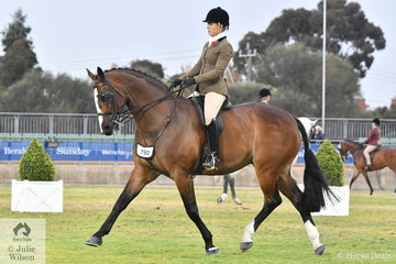 Allanah Richards rode her Fisherman's Friend gelding, 'Ribbleton France' to win the class for Show Hunter Gelding Over 16hh and went on to claim the Show Hunter Reserve Championship. France later went on to claim the Child's Show Hunter Championship.
