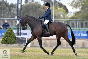 Rachel Wessel is pictured abaord her impressive Novice Over 16.2hh winner and Best Novice Hack, 'Santino' by Sandreo.